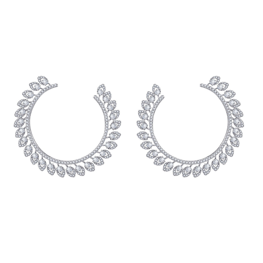 KIERA COUTURE Platinum Clad Sterling Silver 10.65 cttw Cubic Zirconia Floral Front Facing Earrings - GEMOUR
