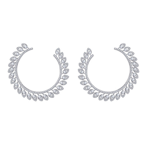 KIERA NEW YORK Platinum Clad Sterling Silver 1.18 cttw Cubic Zirconia Half Hoop Stud Earrings