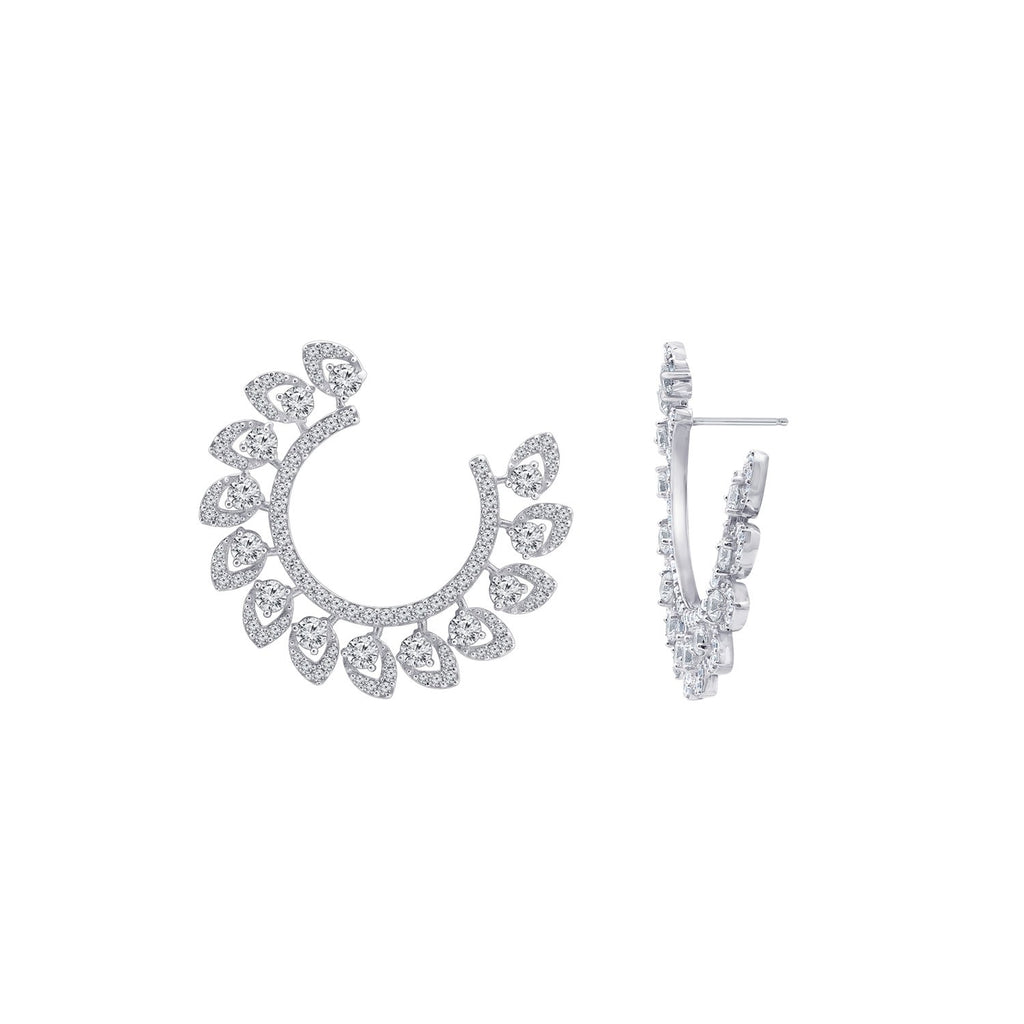 KIERA COUTURE Platinum Clad Sterling Silver 5.3 cttw Cubic Zirconia Wreath Front-Facing Earrings - GEMOUR