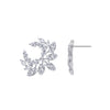 KIERA COUTURE Platinum Clad Sterling Silver Floral 6.38 cttw Cubic Zirconia Statement Earrings - GEMOUR