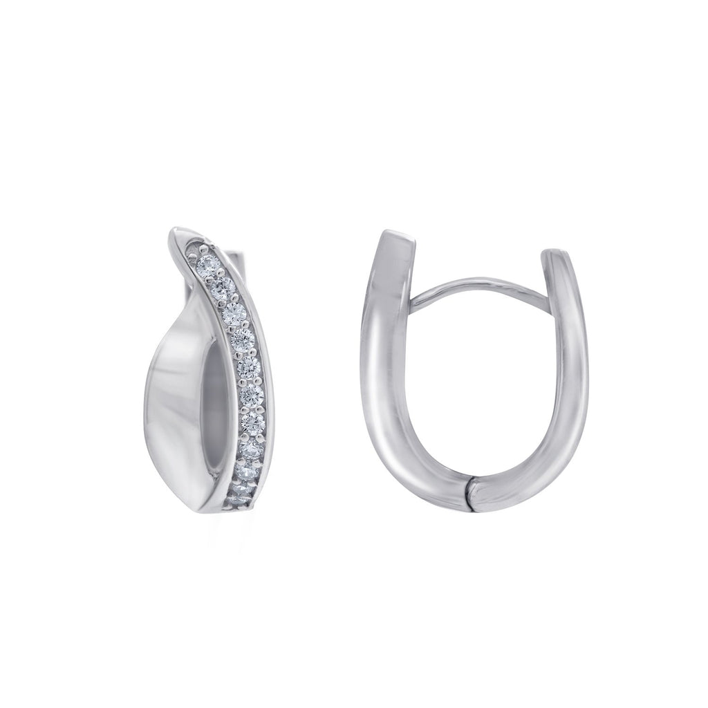 GEMOUR Sterling Silver Cubic Zirconia Curve Wave Oval Huggie Hoop Earrings - GEMOUR