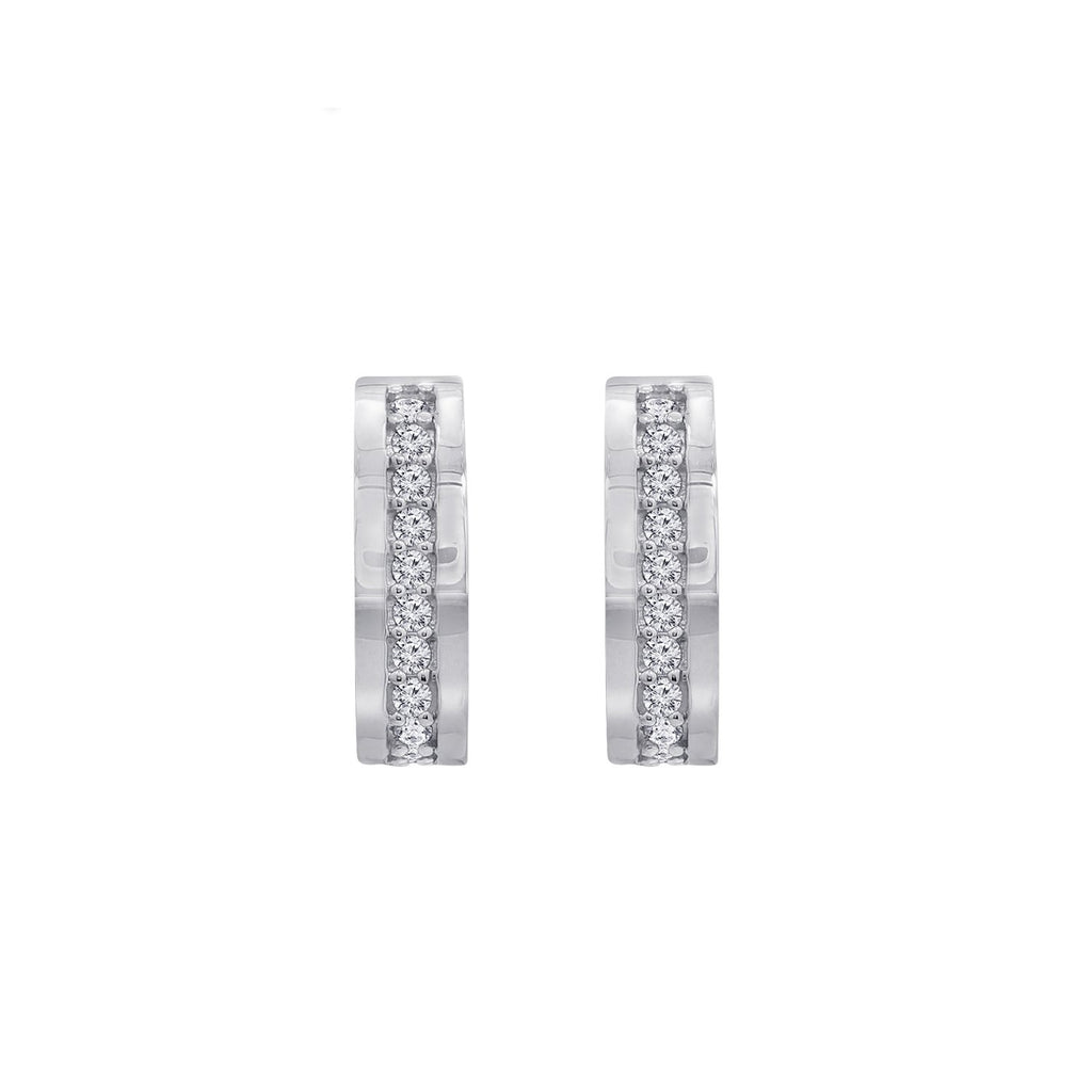 GEMOUR Sterling Silver Cubic Zirconia Rectangle Huggie Hoop Earrings - GEMOUR