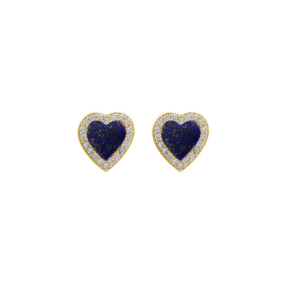 KIERA 14K Yellow Gold Clad Sterling Silver Vintage Halo Natural Gemstone Heart Stud Earrings