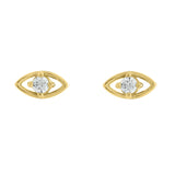 J'ADMIRE Amulet Collection - 14K Yellow Gold Clad Sterling Silver Hollow Evil Eye Stud Earrings with Cubic Zirconia Accents