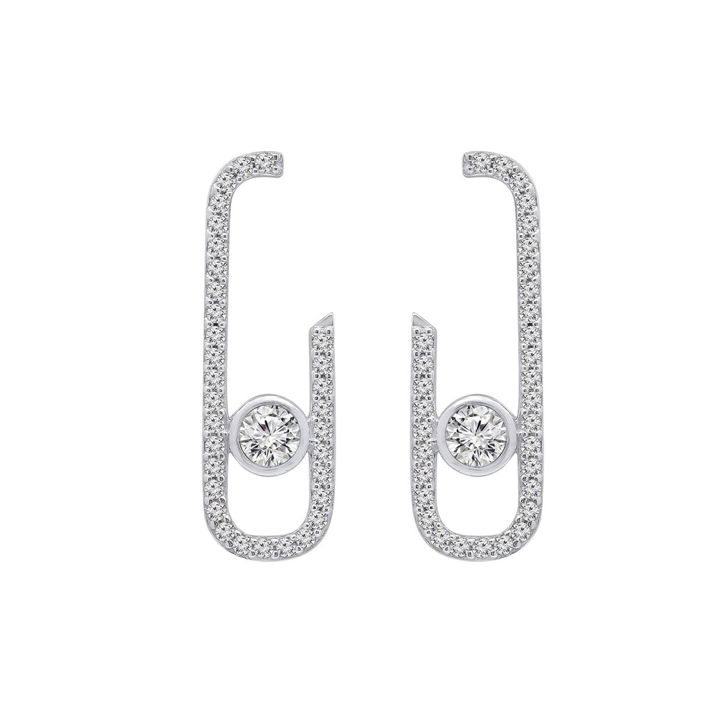 KIERA COUTURE Platinum Clad Sterling Silver Cubic Zirconia Front Facing J-Shaped Drop Stud Earrings - GEMOUR