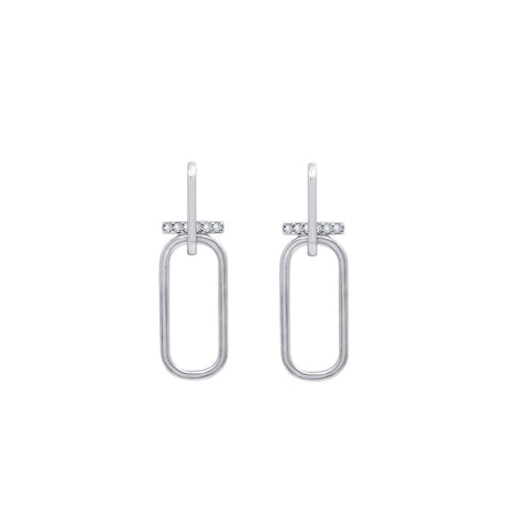 KIERA NEW YORK Platinum Clad Sterling Silver Asymmetrical Bar and Circle Earrings with Cubic Zirconia