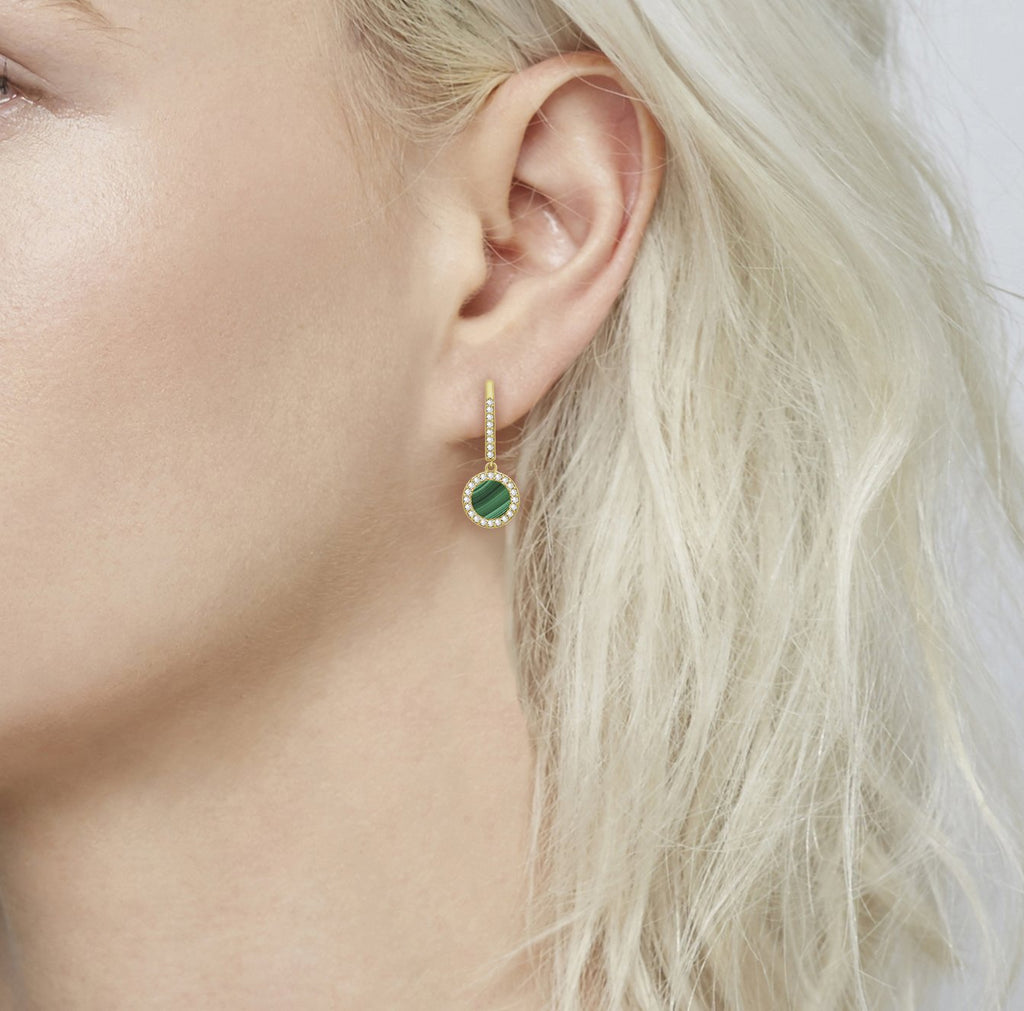 KIERA 14K Yellow Gold Clad Sterling Silver Round Halo Malachite Leverback Earrings