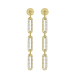 KIERA 14K Yellow Gold Clad Sterling Silver Pave Cubic Zirconia Flat Oval Link Chain Drop Earrings (2.16 cttw)