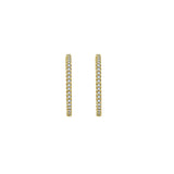 KIERA Yellow Gold Clad Sterling Silver Cubic Zirconia Thin Half Hoop Stud Earrings
