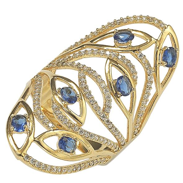 "GEMOUR ""Speak Yourself Collection"" Yellow Gold Plated Sterling Silver Cubic Zirconia Wavy Evil Eye Ring - GEMOUR"