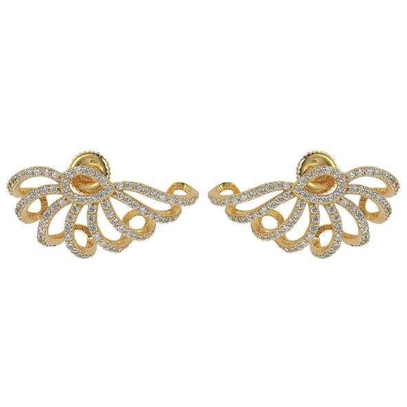 "GEMOUR ""Speak Yourself"" Yellow Gold Plated Sterling Silver Cubic Zirconia Ear Cuffs - GEMOUR"