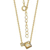 GEMOUR Yellow Gold Plated Sterling Silver Cubic Zirconia and Freshwater Cultured Pearl 2 Cube Pendant Necklace - GEMOUR