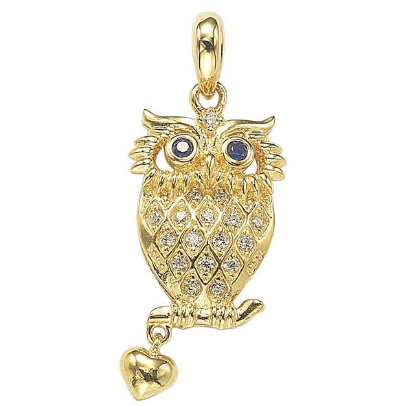 GEMOUR Gold Plated Sterling Silver Cubic Zirconia Stylized Owl Pendant - GEMOUR