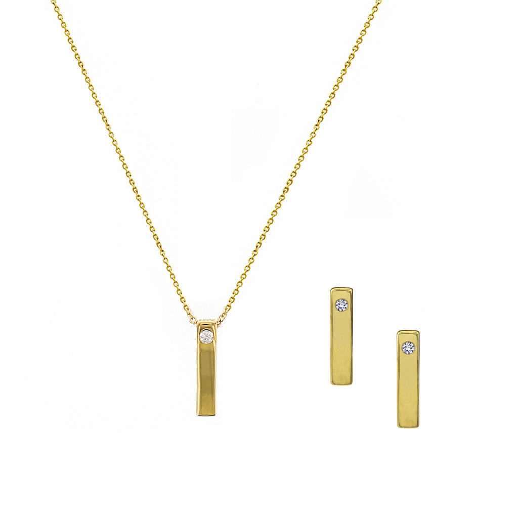 KIERA NEW YORK TINY MODERN BAR PENDANT NECKLACE AND EARRINGS SET - GEMOUR