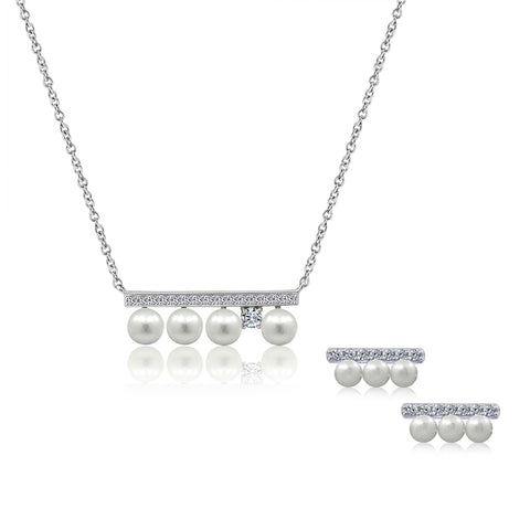 Heart CZ and Freshwater Cultured Pearl Necklace & Earrings Set