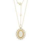 GEMOUR Yellow Gold Plated Sterling Silver Eternal Radiance Cameo Pendant Necklace - GEMOUR