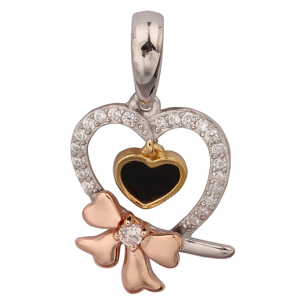 GEMOUR Gold Plated Sterling Silver Cubic Zirconia Heart with Ribbon Pendant - GEMOUR