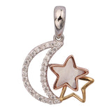 GEMOUR Gold Plated Sterling Silver Cubic Zirconia Moon with Star Pendant - GEMOUR