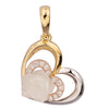 GEMOUR Gold Plated Sterling Silver Cubic Zirconia Heart and Flower Pendant - GEMOUR