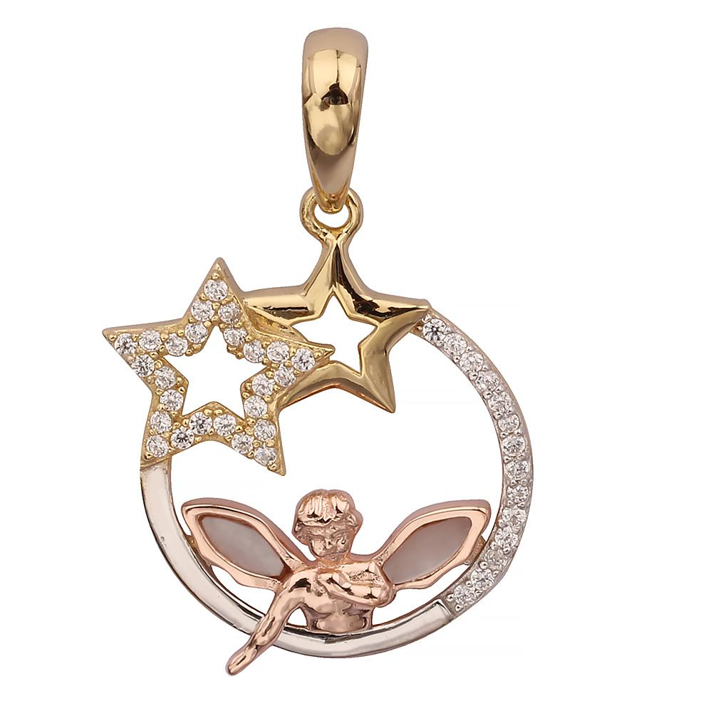 GEMOUR Gold Plated Sterling Silver Cubic Zirconia Angel and Star Pendant - GEMOUR