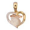 GEMOUR Yellow Gold Plated Sterling Silver Cubic Zirconia Romantic Rose and Heart Pendant - GEMOUR