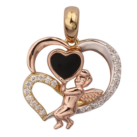 J'ADMIRE 2.7 carats Swarovski Crystal in Dark to Light Pink Triple Hearts Pendant, Rose Gold Plated Sterling Silver, 18""