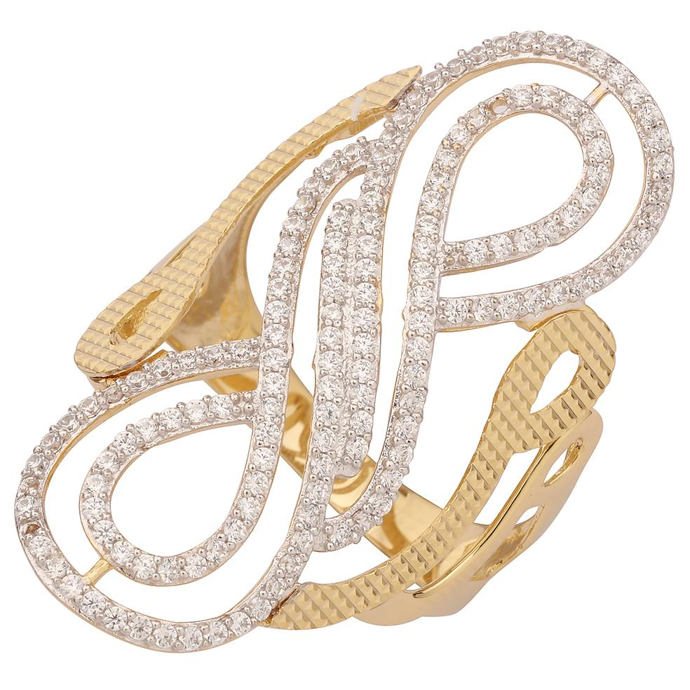"GEMOUR ""Speak Yourself Collection"" Yellow Gold Plated Sterling Silver Cubic Zirconia Fashion Statement Ring - GEMOUR"