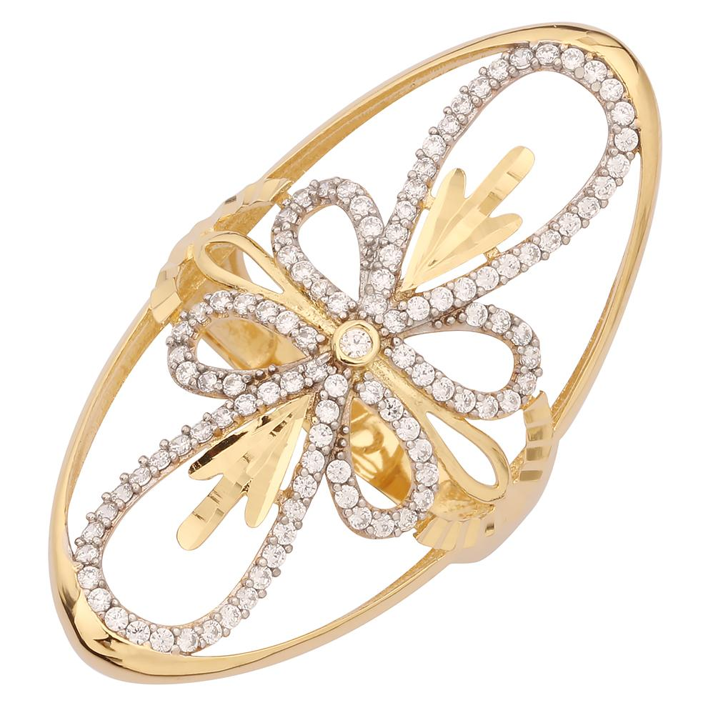 "GEMOUR ""Speak Yourself Collection"" Yellow Gold Plated Sterling Silver Cubic Zirconia Stylized Flower Ring - GEMOUR"