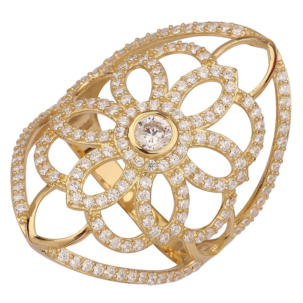 "GEMOUR ""Speak Yourself Collection"" Yellow Gold Plated Sterling Silver Cubic Zirconia Flower Statement Ring - GEMOUR"