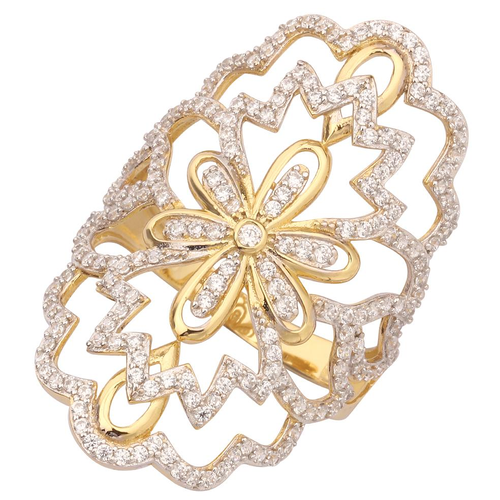"GEMOUR ""Speak Yourself Collection"" Yellow Gold Plated Sterling Silver Cubic Zirconia Regal Flower Statement Ring - GEMOUR"