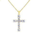 Brilliant 14k Gold Plated Pavé Cross CZ Pendant Necklace - GEMOUR