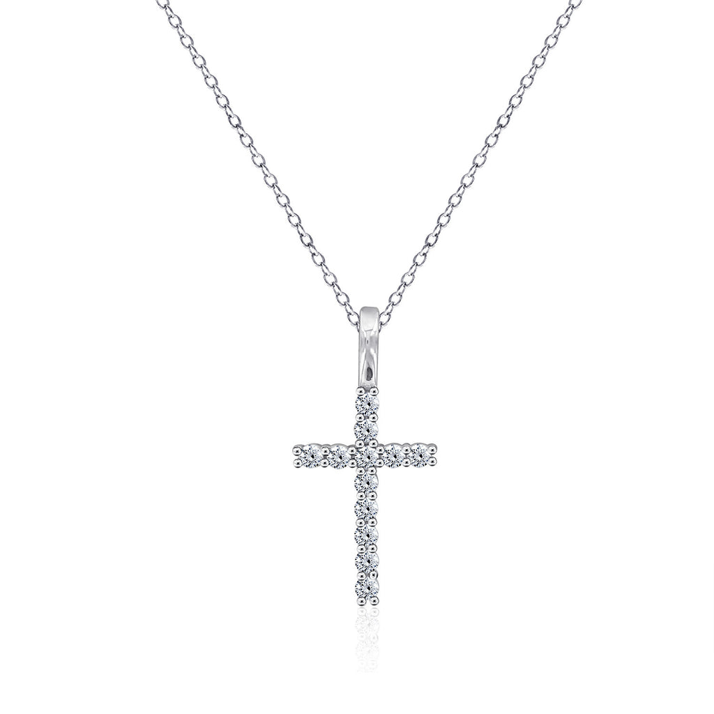 Pavé Classic Cross Pendant Necklace - GEMOUR
