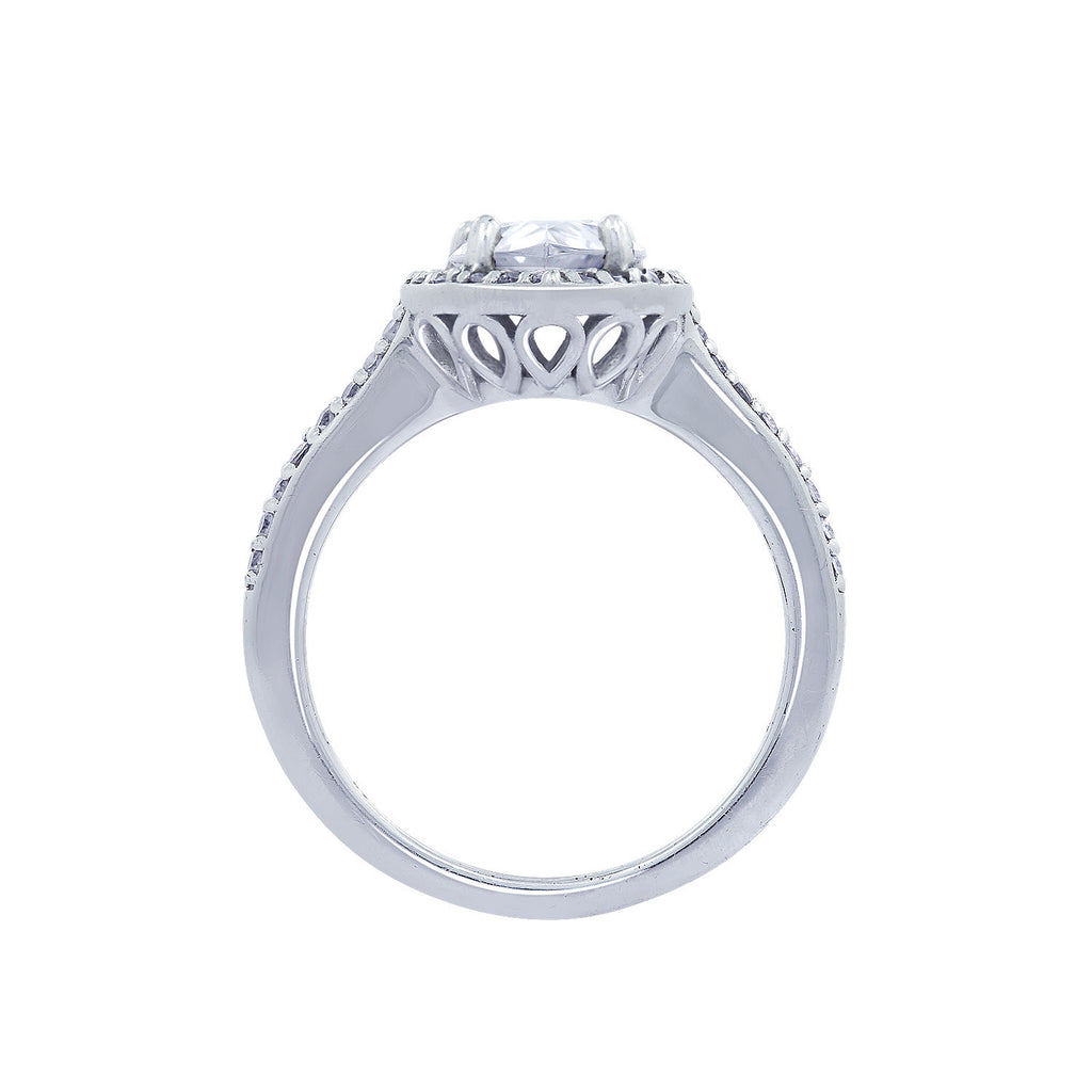 Halo Pear CZ Engagement Ring - GEMOUR