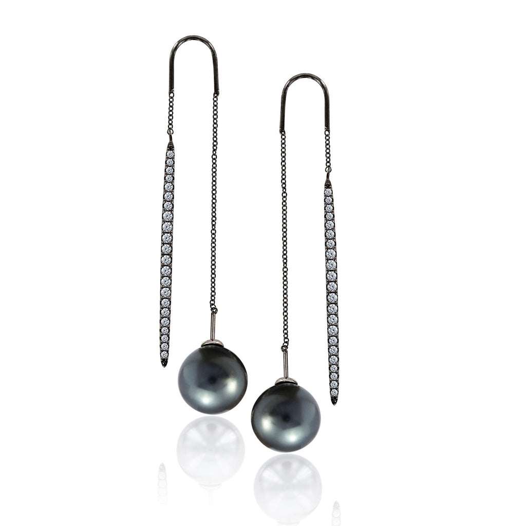 CZ AND PEARL THREADER EARRINGS - GEMOUR
