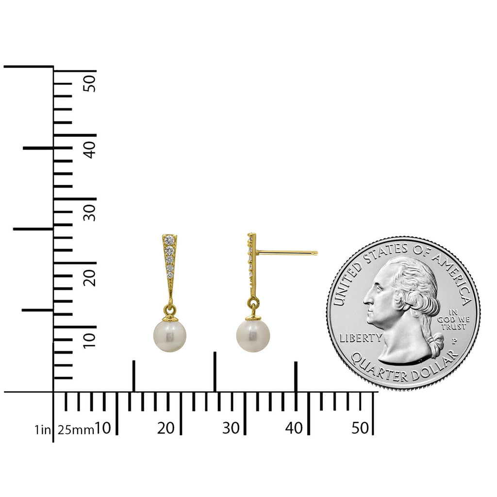 J'ADMIRE 14K Gold Swarovski ® Zirconia Crossover Stud and Dangle Pearl Earring Set - GEMOUR