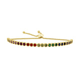 GLOW SOCIETY Shades of Rainbow Collection - Haft Tennis Adjustable Bracelet - GEMOUR