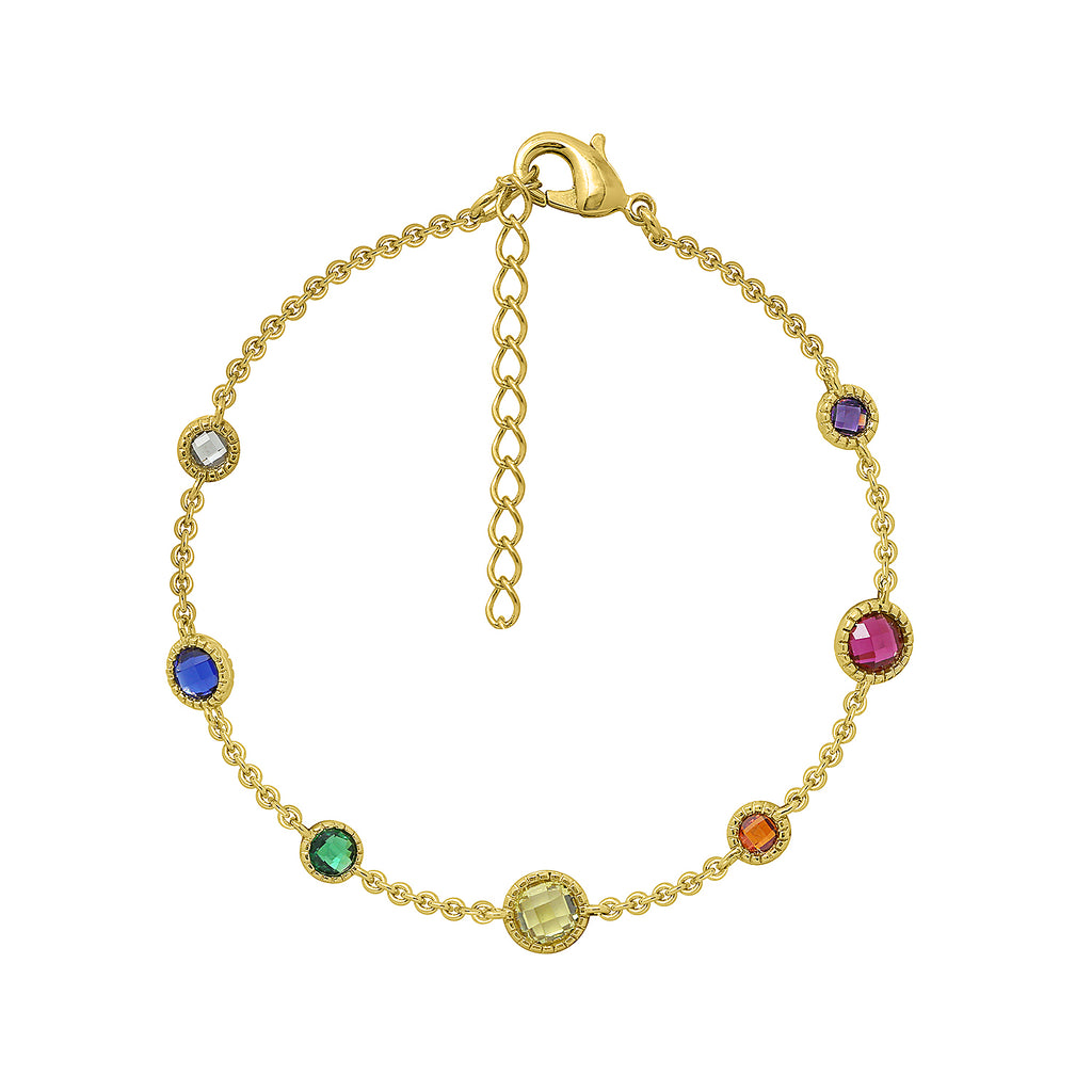GLOW SOCIETY Shades of Rainbow Collection - Station Chain Bracelet - GEMOUR