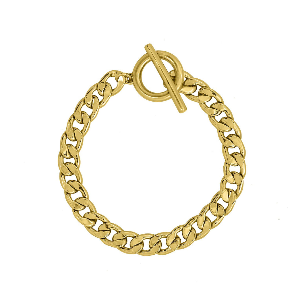GLOW SOCIETY Link Collection - Boyfriend 14K Gold Plated Chain Bracelet - GEMOUR