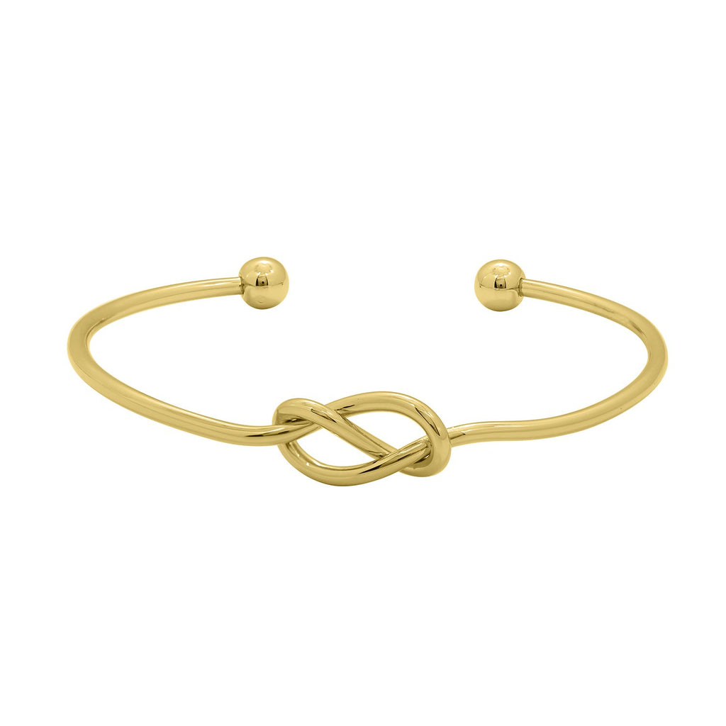 GLOW SOCIETY WIRE COLLECTION - 14K Gold Plated Adjustable Love Knot Bangle - GEMOUR