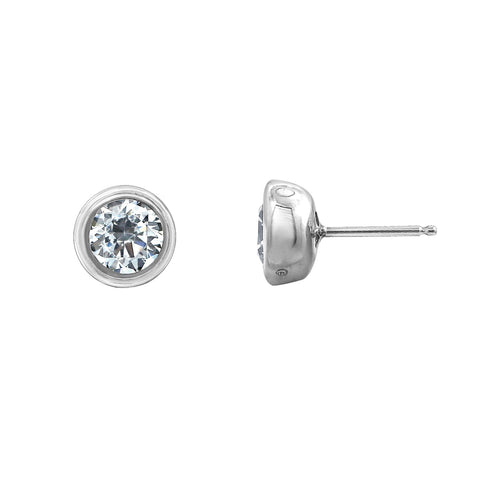 Gemour Sterling Silver 2 ct Round Cubic Zirconia Leverback Earrings