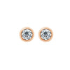 Gemour Sterling Silver 2 ct Round Cubic Zirconia Bezel Stud Earrings - GEMOUR