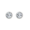 Gemour Sterling Silver 2.5 ct Round Cubic Zirconia Bezel Stud Earrings - GEMOUR