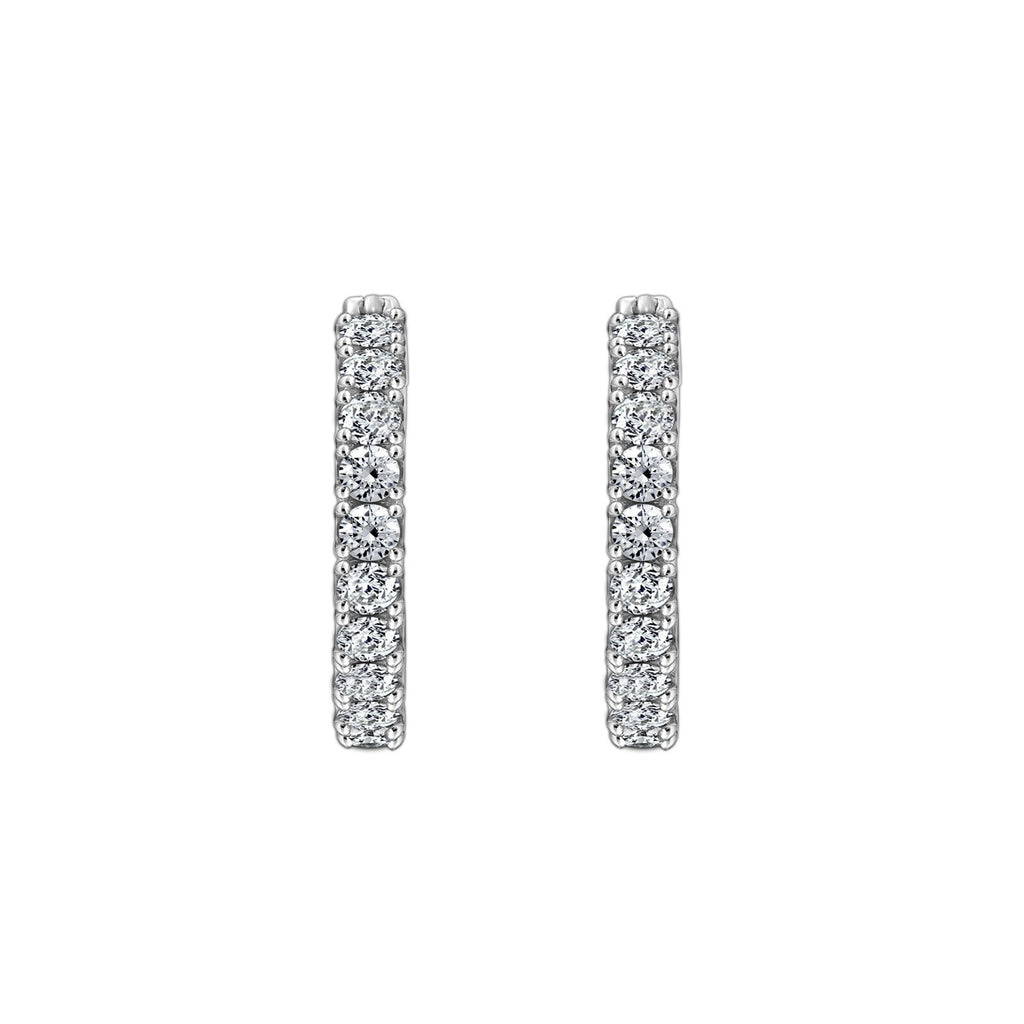 Gemour Sterling Silver 1.5 ct Round Cubic Zirconia Hoop Earrings - GEMOUR
