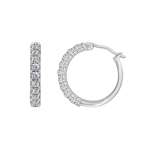 Gemour Sterling Silver 1 ct Round Cubic Zirconia Hoop Earrings