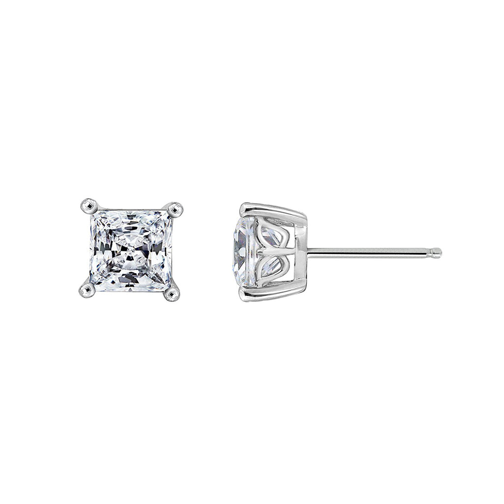 Gemour Sterling Silver 3 ct Princess Cubic Zirconia Stud Earrings - GEMOUR