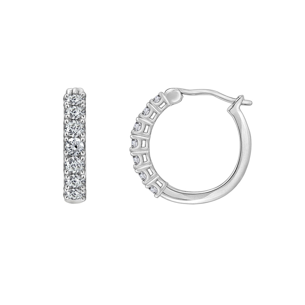 Gemour Sterling Silver 1 ct Round Cubic Zirconia Hoop Earrings - GEMOUR