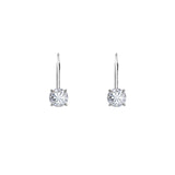 Gemour Sterling Silver 1 ct Round Cubic Zirconia Leverback Earrings - GEMOUR
