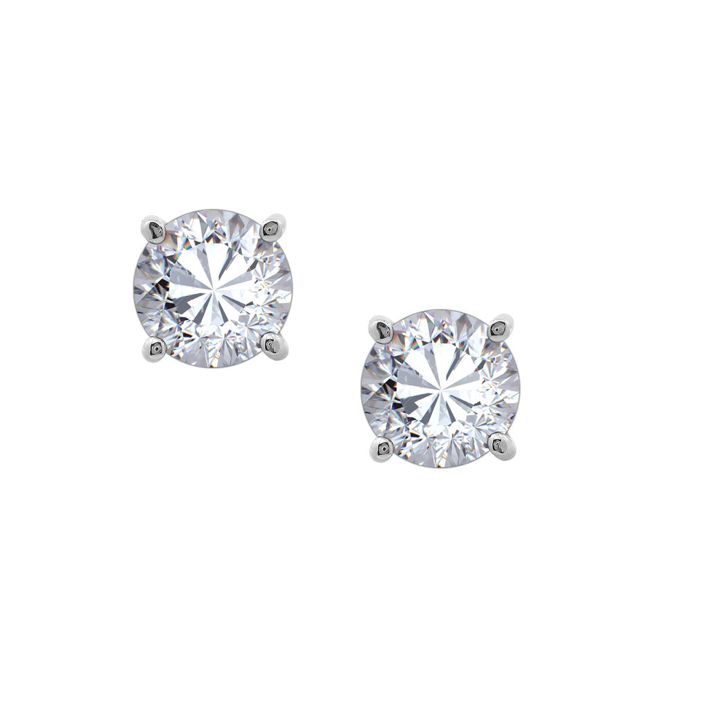 Gemour Sterling Silver 3 ct Round Cubic Zirconia Stud Earrings - GEMOUR