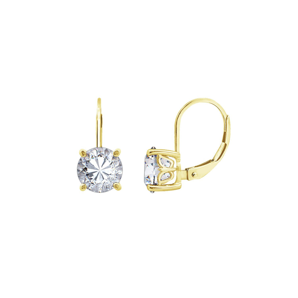 Gemour Sterling Silver 3 ct Round Cubic Zirconia Leverback Earrings - GEMOUR