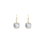 Gemour Sterling Silver 2 ct Round Cubic Zirconia Leverback Earrings - GEMOUR